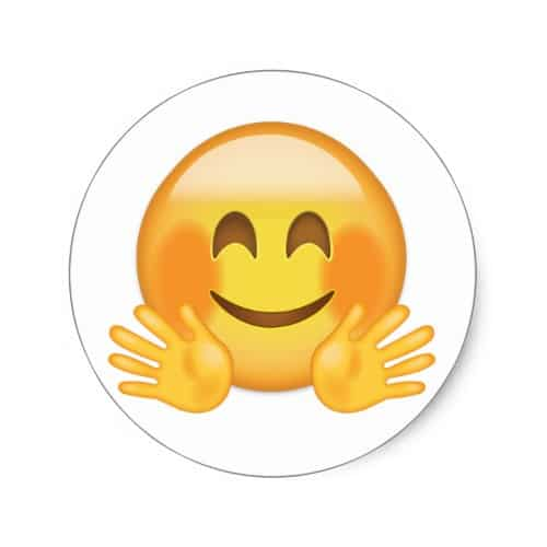Hugging Face Emoji Classic Round Sticker - EmojiPrints